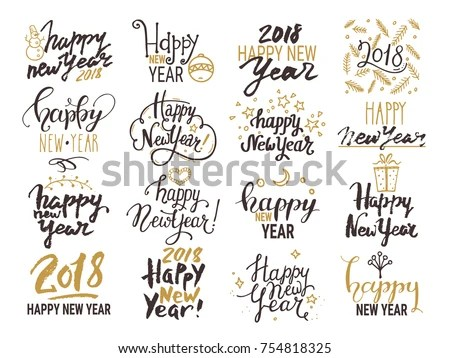 Happy New Year Vector Hand Lettering - Download Free Vector Art