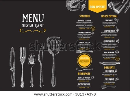 Seafood Menu Templates - Download Free Vector Art, Stock Graphics - Cafe Menu Template