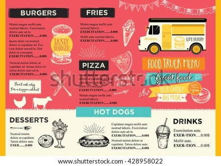Mexican Food and Menu Template Vector - Download Free Vector Art - food truck menu template