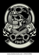 Vintage Biker Skull With Crossed Piston Emblem Stock Vector