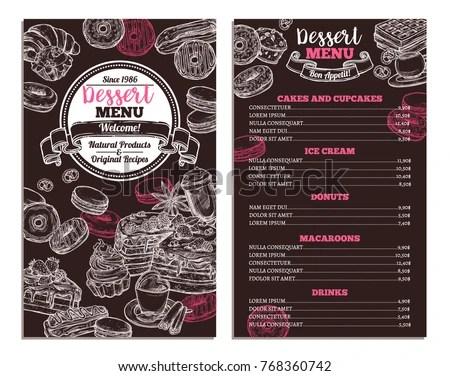 Vector Dessert Menu - Download Free Vector Art, Stock Graphics  Images