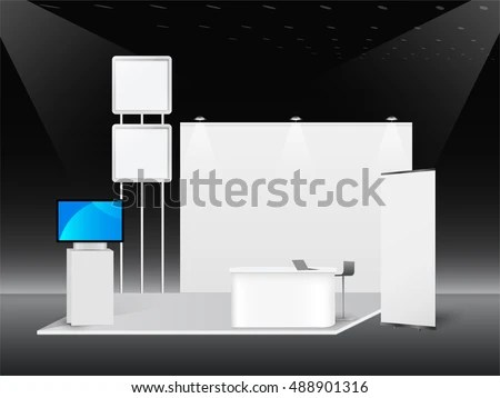 White creative exhibition stand design Booth template Corporate