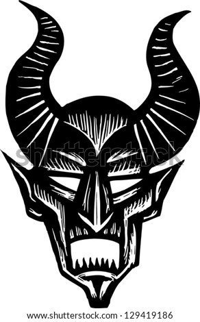 Cute Cartoon Angel Wallpaper Black And White Vector Illustration Of A Demon Face