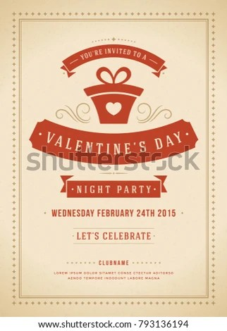 Happy Valentines Day Party Invitation or Poster Vector illustration - 's day party invitation
