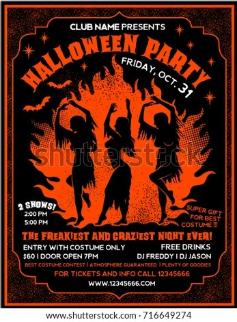 Halloween Party Flyer template Witches Dancing near a Campfire in