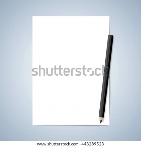 Vector paper and pencil, Blank paper, Lined paper with pencil