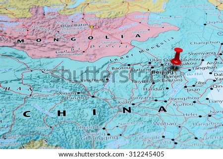 Beijing pinned on a map of Asia EZ Canvas