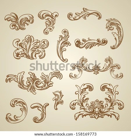 Royalty-free Vector vintage baroque engraving floral\u2026 #151662242 - baroque scroll designs