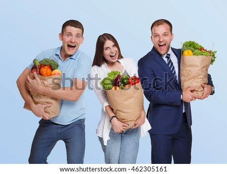 Free Photos Young Man Holding Two Paper Bags With Food