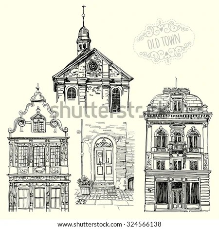 A set of drawings with old buildings Sketches Old city Freehand