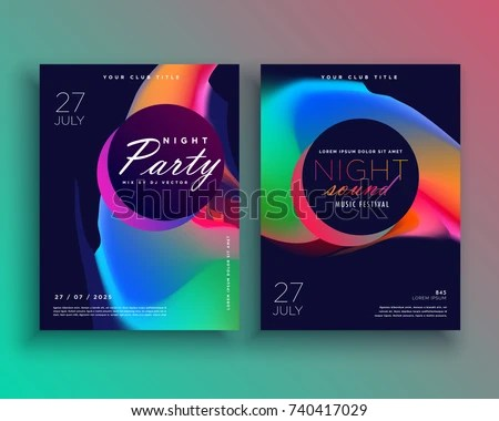 party flyer template design with vibrant color abstract shape - party brochure template