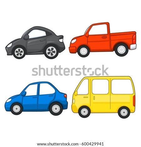 Set of cartoon cars isolated on white Raster version EZ Canvas
