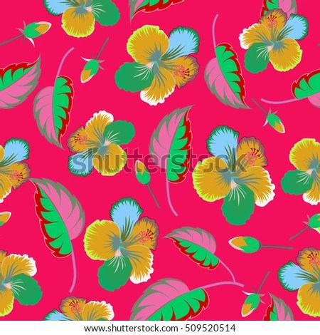 Aloha Hawaii, Luau Party invitation on red background with hibiscus