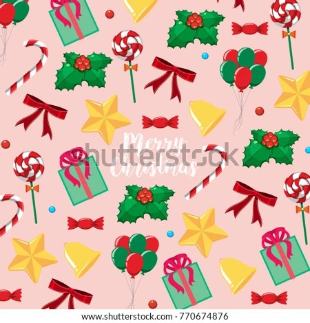Merry Christmas card template with presents and candy illustration