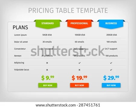 Price Chart Template Html Responsive Pricing Table Template Can - blank comparison chart template
