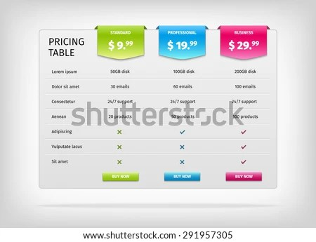 Web Design Pricing Table Template - Download Free Vector Art, Stock