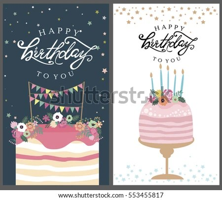 Birthday Card Design - Download Free Vector Art, Stock Graphics - birthday cake card template