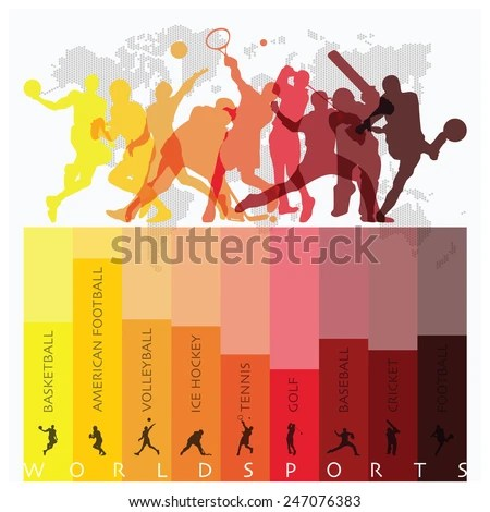 World Sport Isolate Action Icon Set Design Template Stock Images