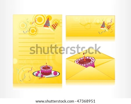 elegant happy birthday card with cake and candle - Download Free