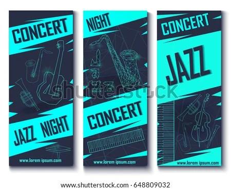 Vector Jazz Concert Banners - Download Free Vector Art, Stock