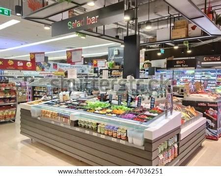Bangkok, Thailand - 24 May 2017 Shelf of Salad bar, fresh
