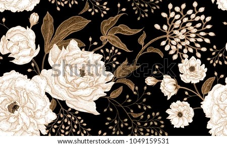 Black and White Floral Background Vector - Download Free Vector Art