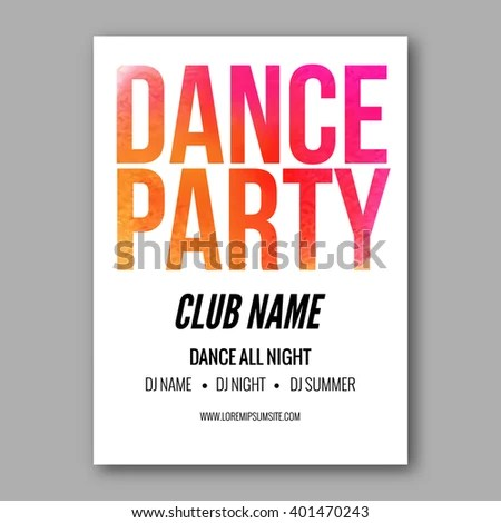 Dance Party Poster Template Night Dance Party flyer design