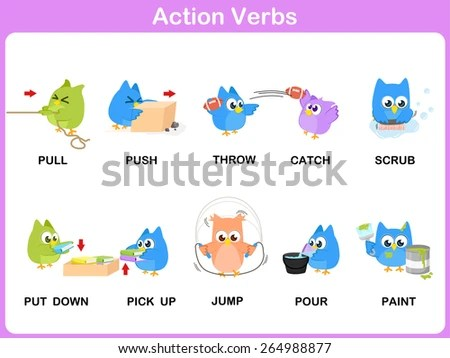 Verbs Free Vector Art - (9 Free Downloads) - action verbs
