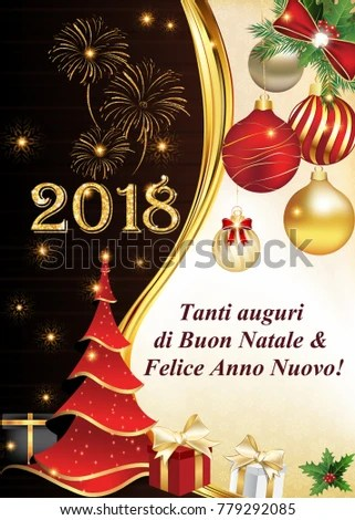 2018 Merry Christmas and Happy New Year greeting card with German
