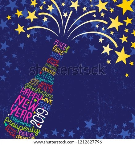 2018 new year poster wine bottle fireworks decoration Free vector in