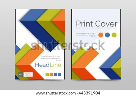 Geometric brochure front page, business annual report cover vector