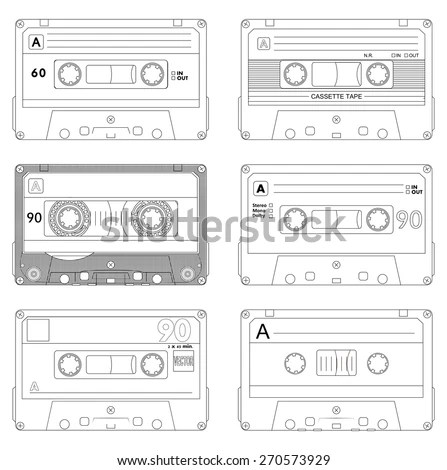 stock-vector-collection-of-six-outline-plastic-audio-cassette-tape - payroll slip template excel