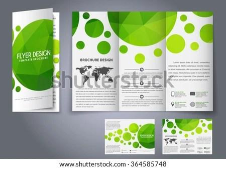 Design tri-fold flyers, brochures green polygonal elements The