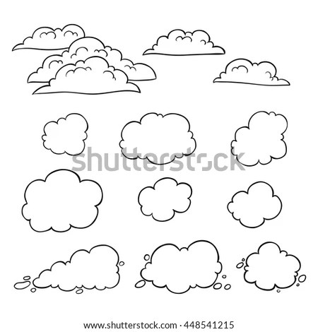 Royalty-free Set of doodle clouds on white background #448376500
