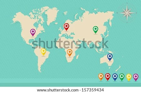 Free Vector World Map With Pins - Download Free Vector Art, Stock