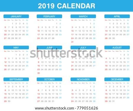 Design Template Of Desk Calendar 2019 - Download Free Vector Art - 12 calendar