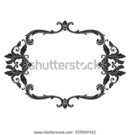 Vintage baroque frame scroll ornament engraving border floral retro