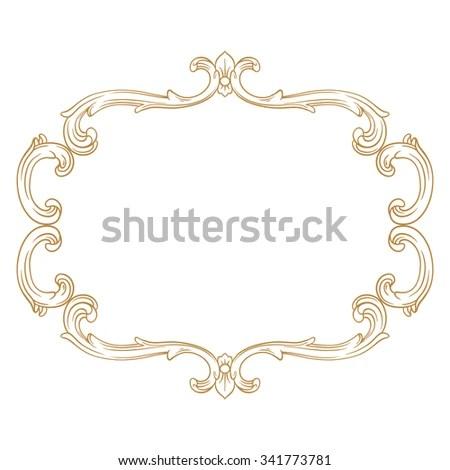 Premium Gold vintage baroque frame scroll ornament engraving border