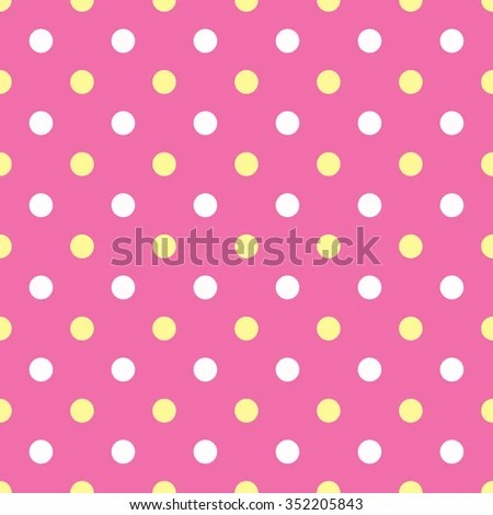 White and yellow polka dots on pink background EZ Canvas
