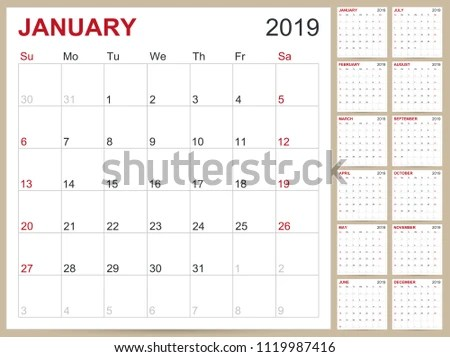 Design Template Of Desk Calendar 2019 - Download Free Vector Art - calendar template