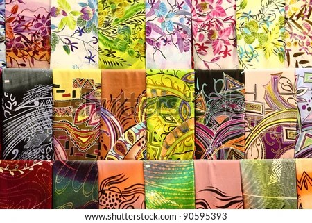 Assortment of colorful traditional Asian batik fabrics for sale in - print divorce papers