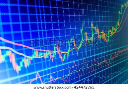 Candle stick graph chart of stock market investment trading Display