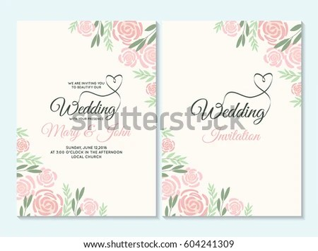 Pink and green pastel Wedding invitation, thank you card, save the