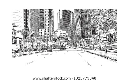 City icon of Indianapolis City in Indiana, USA Hand drawn sketch