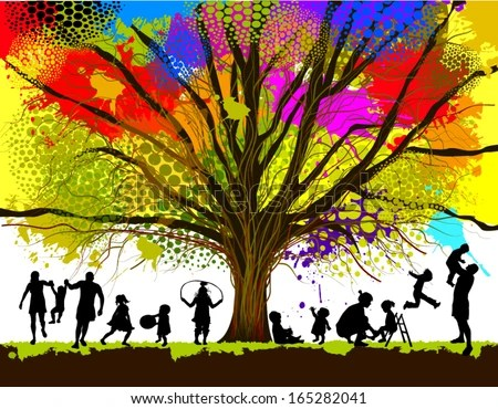 Vector Images, Illustrations and Cliparts childhood colorful tree