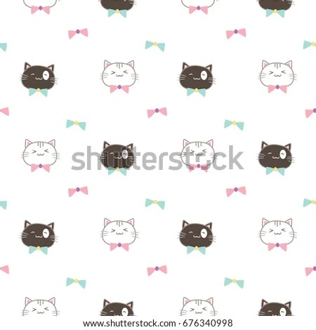 Seamless Pattern of Cute Cartoon Cat Head Design on White Background