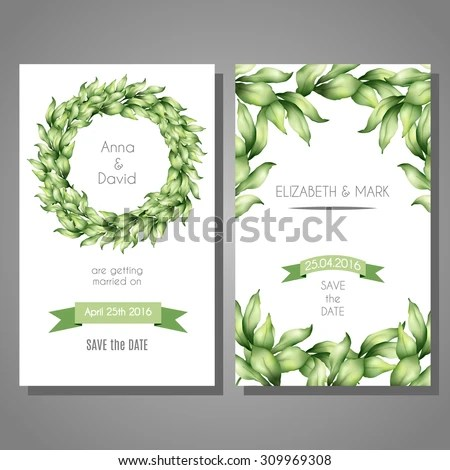Vector cute cards templates set with hand drawn bay leaves Template