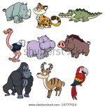 Nine Cute Wildlife Cartoon Animals Stock Vector Illustration