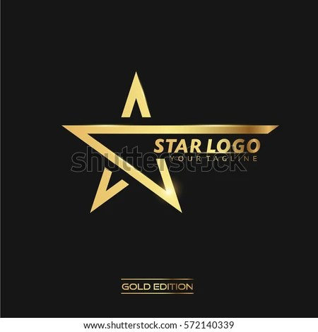 Letter A like a gold star, vector logo\u2026 Stock Photo 338703554