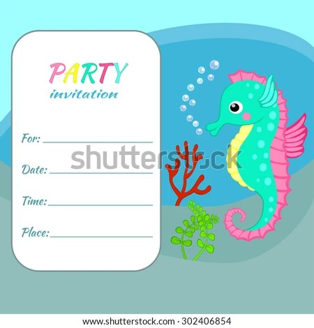Children birthday party invitation card template Colorful seahorse